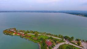 Shot aerial view landscape at sunset above water dum in lopburi. Thailand Stock Photos