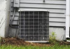 A shot of an air cooling unit outside of a suburban home stock photography