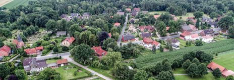 Birdseye perspective with aerial view of a village in Lower Saxo Stock Images