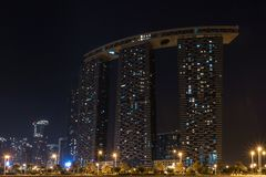 Shot of Al Reem Island Gate towers at night in Abu Dhabi city royalty free stock photography