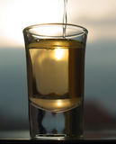 A shot of an alcohol beverage being drunk Royalty Free Stock Image