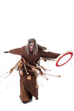 Shot of angry shaman dancing with tambourine Stock Photo