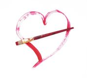 Shot Through Art Pure White. Red heart paint stroke and the brush that created it.  On 100% white background Stock Images
