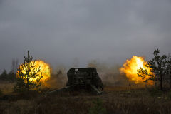 Shot of artillery fire with flash Stock Photography