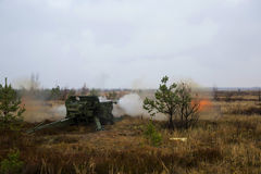 Shot of artillery fire with flash Royalty Free Stock Photo
