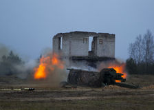 The shot of artillery fire Royalty Free Stock Image