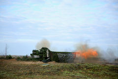 Shot of artillery fire with flash Royalty Free Stock Images