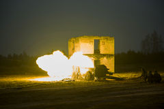 Shot of artillery fire with flash Stock Images