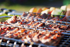 Shot of barbecue with vegetables Royalty Free Stock Photos