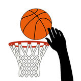 Vector shot of basketball ball through a hoop Royalty Free Stock Images