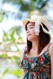 A shot of a beautiful asian woman outdoor Stock Photos