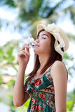 A shot of a beautiful asian woman outdoor Royalty Free Stock Photography