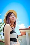 A shot of a beautiful asian woman outdoor Royalty Free Stock Image