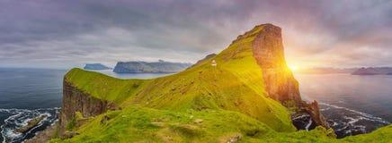 Sunrise Over Kalsoy Island and Kallur lighthouse, Faroe Islands royalty free stock photography