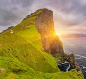Sunrise Over Kalsoy Island and Kallur lighthouse, Faroe Islands Stock Photography