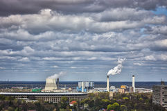 Shot of berlin skyline with power plant Royalty Free Stock Images