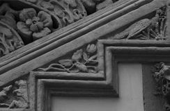 Floral stairs with some animals on it part 3. Shot in black and white and detail of the sculpture on the facade of this historic building representing some stock images
