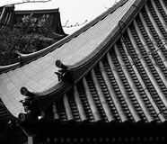 Kyoto roofs. Shot in black and white. View on some building roofs. Set in Kyoto, Japan, Asia Royalty Free Stock Photos