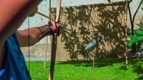 Shot with a bow in artificial animal. A close-up slow motion footage of an archer shooting in artificial animal with vintage bow on sunny day stock video