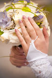 Shot of bride holding wedding bouquet Royalty Free Stock Photos