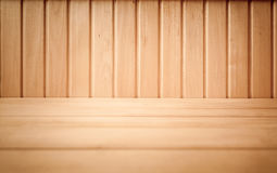 Shot of brown wooden planks on floor and wall Stock Image