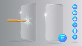Shot a bullet in protective glass, a crack on glass. Vector screen protector film or glass cover  on grey background,. Mobile accessory eps10 Royalty Free Stock Photo