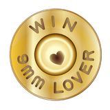 Shot bullets Saint Valentine isolated on white background. Caliber of weapon bullets icon flat. Heart firing pin weapon. Vector il. Lustration symbol. Lover Royalty Free Stock Images