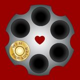 Shot bullets Saint Valentine isolated on white background. Caliber of weapon bullets icon flat. Heart firing pin weapon. Vector il. Lustration symbol. Lover Royalty Free Stock Photos