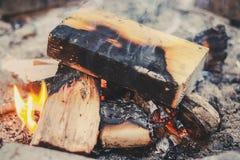 shot of burning firewood stock photography