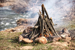 Shot of camping fire Stock Image