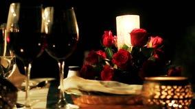 Shot of candlelight dinner at Hotel Amar Villas, Agra, Uttar Pradesh, India stock footage
