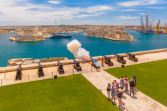 Shot from cannon in Valletta, Malta. Royalty Free Stock Photo