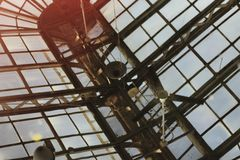 A reflection of a crazy glass roof! stock photography