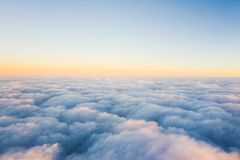 cloud sea on the airplane stock images