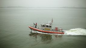 Shot of coast guard vessel. At daytime stock footage