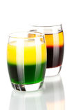 Shot cocktail collection: Green and Gold and Cockr Royalty Free Stock Photography