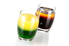 Shot cocktail collection: Green and Gold and Cockr Royalty Free Stock Image