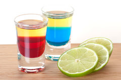 Shot cocktail collection: Red and Blue Tequila Royalty Free Stock Image