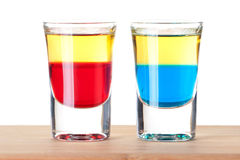 Shot cocktail collection: Red and Blue Tequila Stock Images