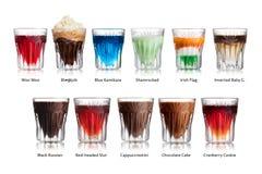 Shot cocktails isolated set Royalty Free Stock Image