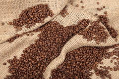 Shot of Coffee Beans in a Bag Stock Photos