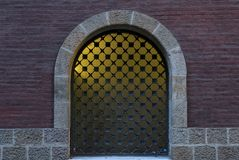 Yellow window under the columns part 2 stock photography