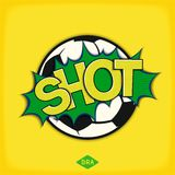 Shot - comic speech bubble. Pop art speech bubble with soccer ball and lettering comic style for Brazil. Vector eps 10 stock illustration
