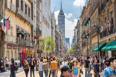 Mexico city, Mexico - Crowds in the city center. Shot of crowds in the popular tourist place in Mexico city royalty free stock photography