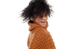 Shot of curly haired girl having a great time Royalty Free Stock Photo