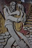 Couple Dancing Tango - Wall Mural - Caminito, La Boca Argentina. A shot of a dancing couple as a wall mural in Caminito, La Boca, Argentina Royalty Free Stock Images