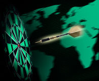 Shot of darts in bullseye Stock Photography