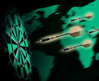 Shot of darts in bullseye Royalty Free Stock Photos