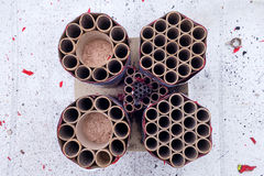 Shot down cake firework from above Stock Photography