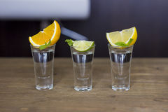 Shot drink set on bar background. Shot drink set with diffrent citrus slices on bar background Royalty Free Stock Photography